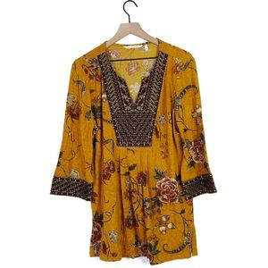 Soft Surroundings Floral Embroidered Tunic Blouse